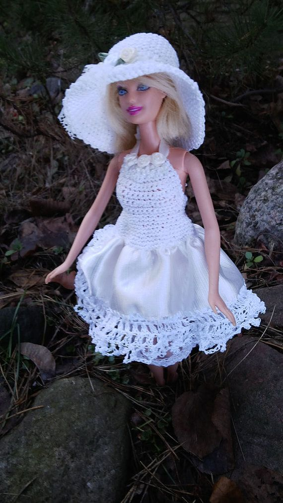 White layered wedding DRESS and hat set for by ZomiDollClothes