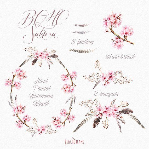 Corona di Sakura, mazzi di fiori, piume e rametto di fiori di Sakura.     Può essere utilizzato per: – stampato carta cancelleria (tag, confezionamento imballaggio, carta, etichette, inviti, schede) – scrapbooking digitale o cartaceo -decorazioni per la casa (cuscini, asciugamani, tovaglioli) – moda (t-shirt, borse, grembiuli) – altri progetti fai da te   Dettagli elemento:  7 file PNG. (300 dpi, RGB, sfondo trasparente) 7 file JPEG. (300 dpi, RGB, sfondo bianco) Dimensioni della corona: 20…