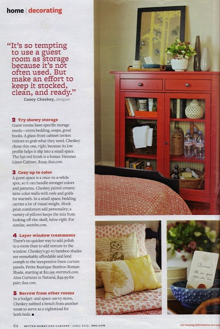 Add a cabinet for guest items above the hope chest in the spare bedroom.