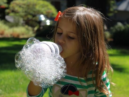 {One-of-a-Kind Bubble Bottle} Who can resist a GAZILLION bubble suds? *Got to try this with the neighborhood kids...