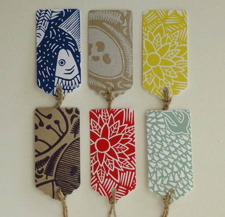 Inspiration for garden mesh chairs...lino cut printed gift tags - inky prints originals