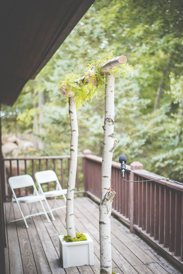 Diy Simple Wedding Arbor With Birch Trees Wedding