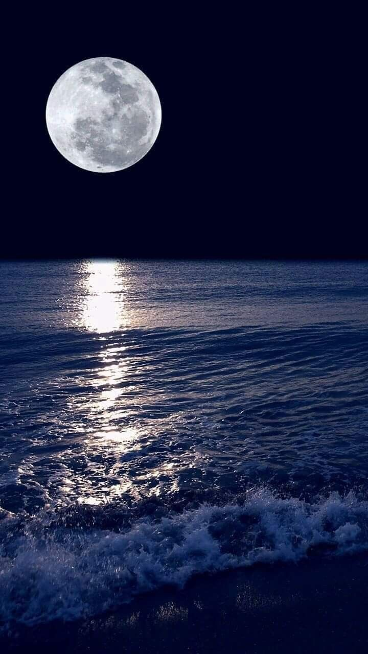 El Mar La Luna Fotografia Da Natureza Arte Da Lua Wallpaper