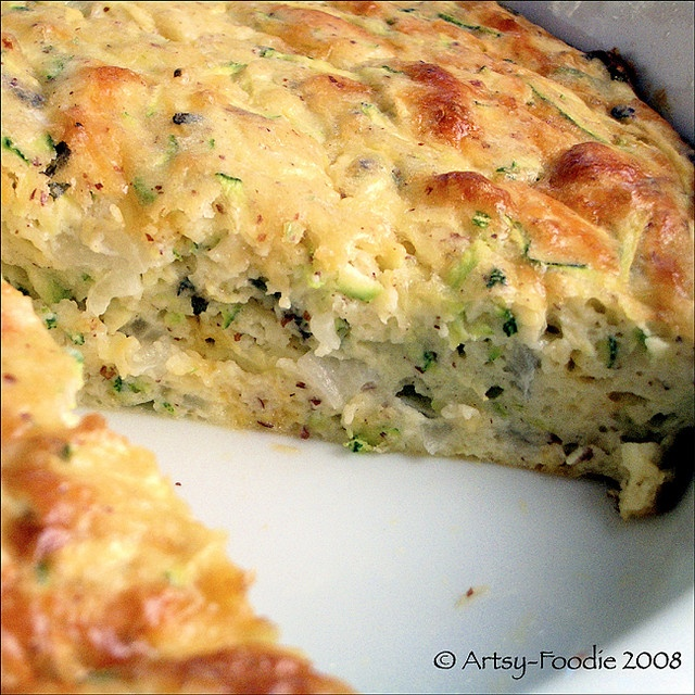 Zucchini Quiche     2 cups shredded zucchini  1/4 cup finely chopped onion  1 cup shredded mexican cheese mix  1 tsp dried basil  1 tsp sea salt  1 cup GF pancake mix (such as Pamela's GF Pancake and Baking Mix)  1/3 cup egg white  4 whole eggs  2 tablespoons olive oil