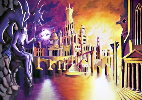 #etsy #painting #fantasy #art #sunset #moon #metaphysic #temple #ruins #bridge #artist #paint #tempera #sea #reflectionss