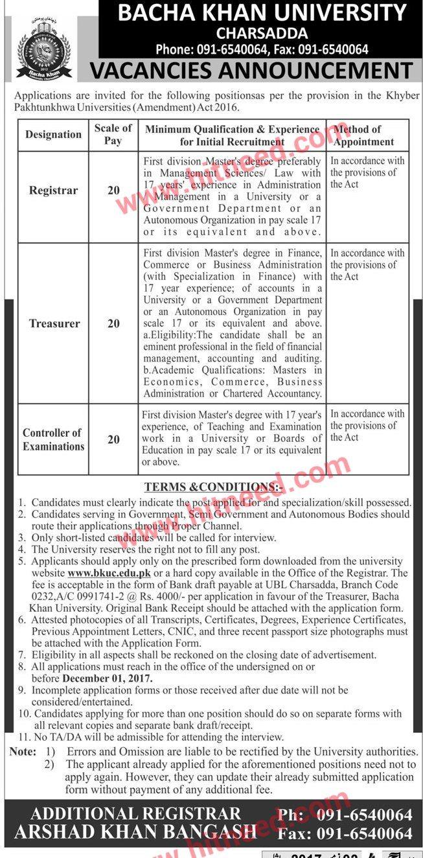 Bacha Khan University Charsadda, Registrar, Treasurer, Controller of Examinations, Latest Jobs Nov 2017   #Charsadda Jobs #Controller Examination #Registrar #Treasurer #University Jobs