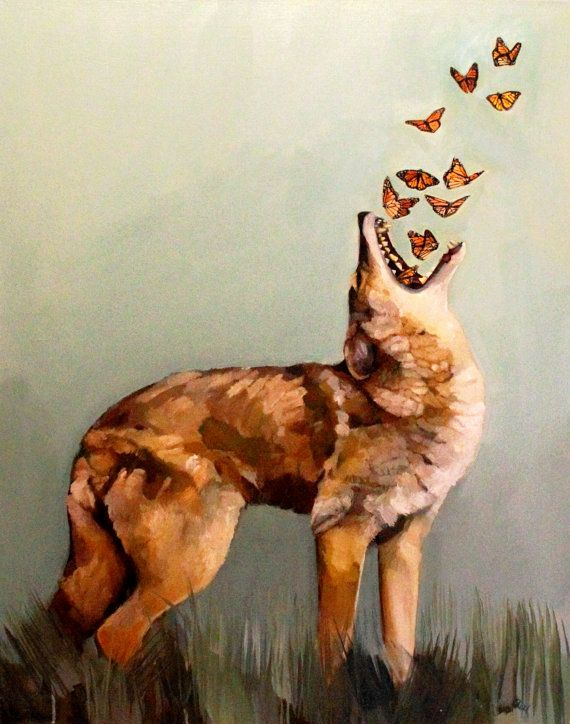 High quality fine art print of the original painting Coyote and Butterflies.    Coyote is available in an 11 x 14 , 8.5 x 11, or 8 x 10 size