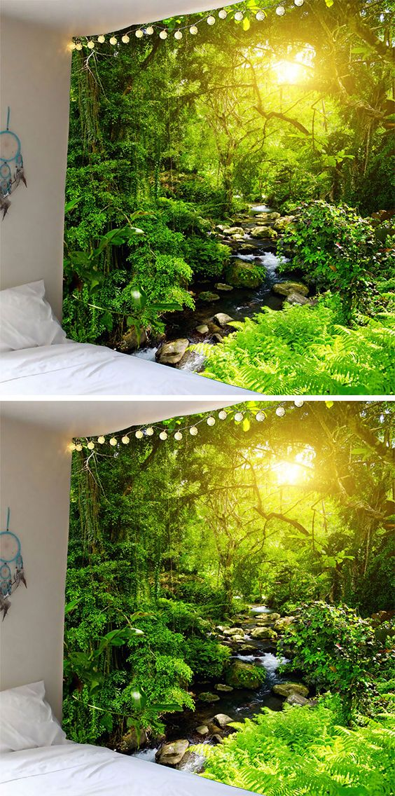 home decor ideas:Forest Stream Sunlight Waterproof Wall Tapestry