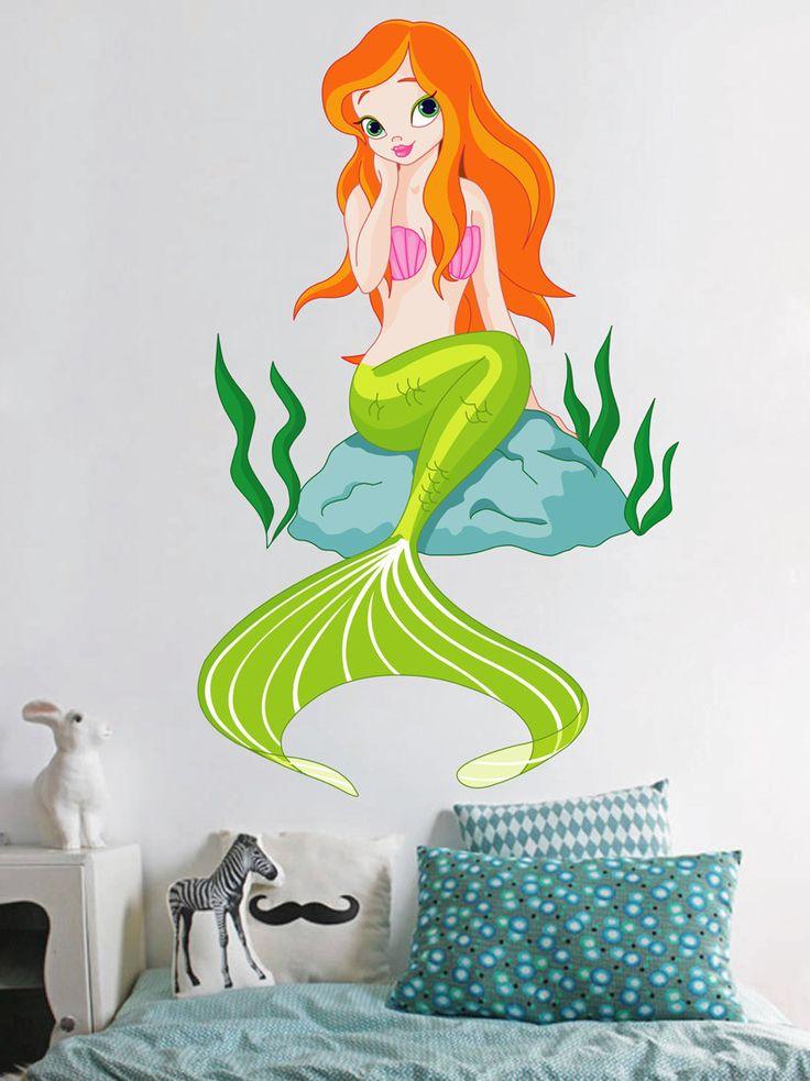 cik334 Full Color Wall decal Siren Mermaid Marine children's bedroom