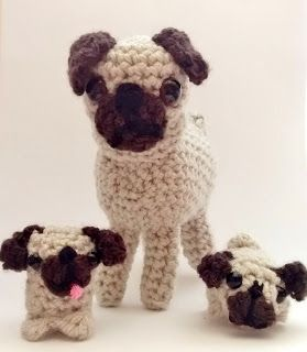 Crochet amigurumi pugs for that dog lover in your life ::  I can think of at least 2 little girls who would love one of these!