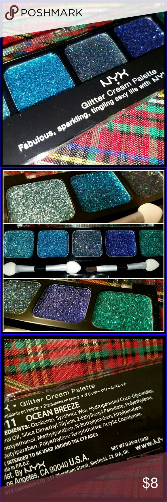 NWOT NYX Glitter Eyeshadow Palette Included is the Ocean Breeze glitter cream eyeshadow palette. Brand new never used. This palette gives you 5 very different glitters to work with. Incorporate this into an everyday look or that special girls night out! NYX Makeup Eyeshadow