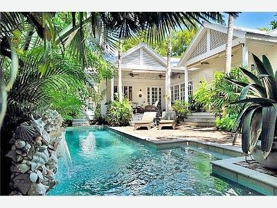 Key West house rental - Heavenly Zen: a quiet courtyard & pool with waterfall...