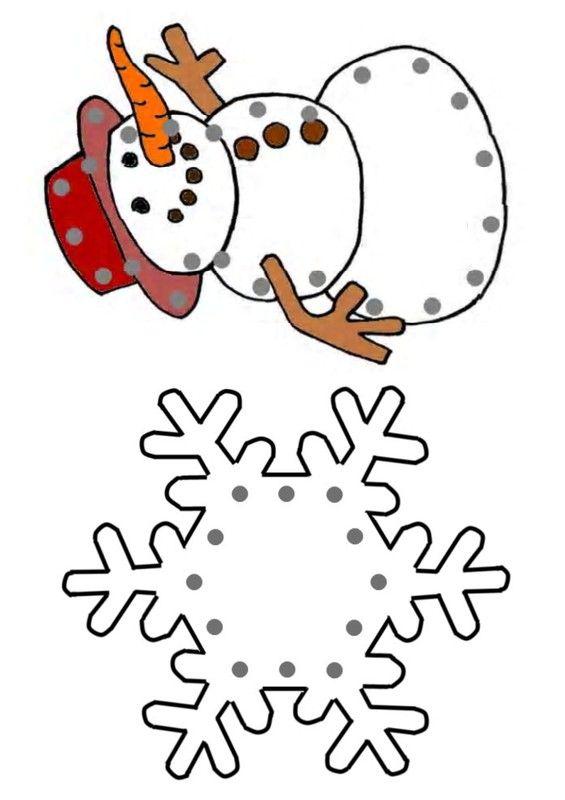 sneeuwman en sneeuwvlokje