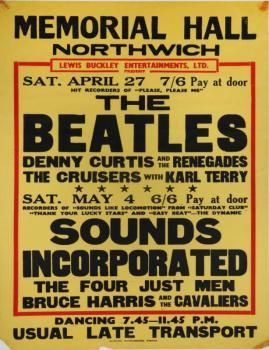 """An original concert poster advertising The Beatles' April 27, 1963, concert at Northwich Memorial Hall. This early concert poster lists The Beatles as """"The Hit Recorders of 'Please, Please Me.'"""" Also appearing on the bill were Denny Curtis and the Renegades and The Cruisers with Karl Terry. 30 by 20 inches"""