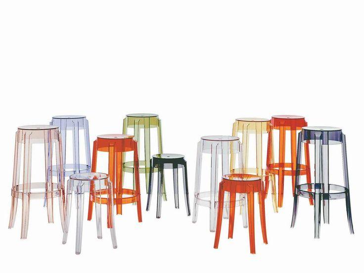 Charles Ghost Bar stool - прозрачные барные стулья и табуреты. Дизайнерский стул. Разноцветные стулья. Пластиковые стулья. Мебель для улицы.