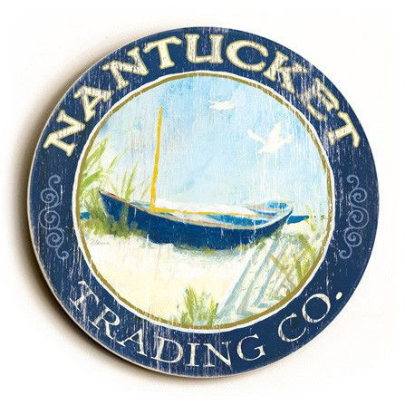 Nantucket Trading Company Sign This Nantucket Trading Company round wood sign will look great in any coastal room. The sign comes ready to put on your wall with a saw tooth hanger. The sign is hand di
