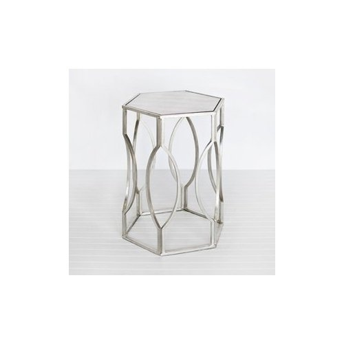 Amazon.com: Worlds Away Morroco S Hexagonal Side Table In Silver Leaf: Furniture & Decor