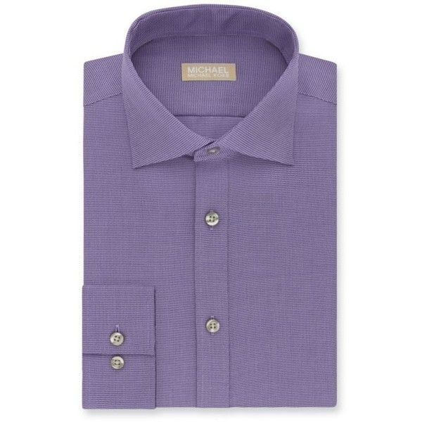 Michael Michael Kors Purple Non Iron  Ular-Fit Dress Shirt ($45) ❤ liked on Polyvore featuring men's fashion, men's clothing, men's shirts, men's dress shirts, purple, men's regular fit shirts, mens twill shirts, mens purple shirt, mens button front shirts and non iron men's shirts