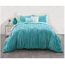 Ruched Chevron Comforter Set - Queen