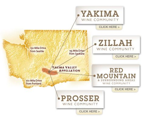 Wine Yakima Valley  Nearby and Miles Away. The Growers and Wineries of the Yakima Valley invite you to visit Washington's oldest wine-producing region. The Yakima Valley wine region is a scenic and leisurely two to three hour drive from Seattle, Spokane, or Portland.