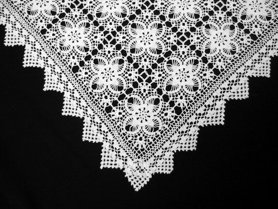 Vintage Square White Crochet Lace Tablecloth by VintageHomeStories