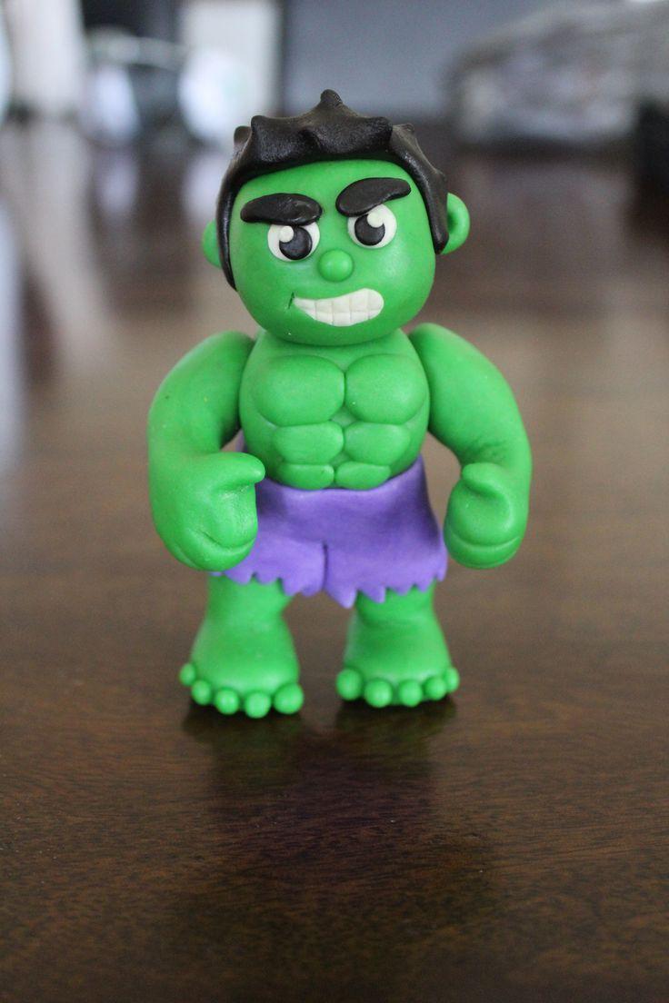 The Hulk cake topper. Superhero cake topper. Made with homemade marshmallow fondant
