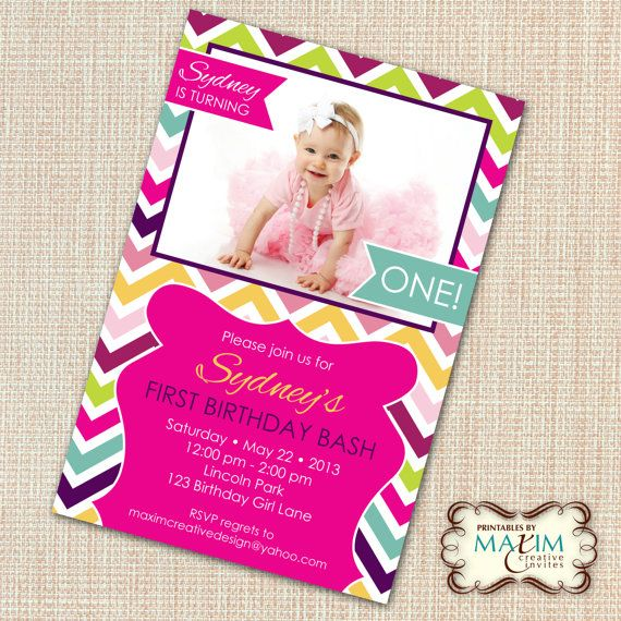 Rainbow Chevron Invitation DIY Printable by MaximCreativeInvites, $13.00