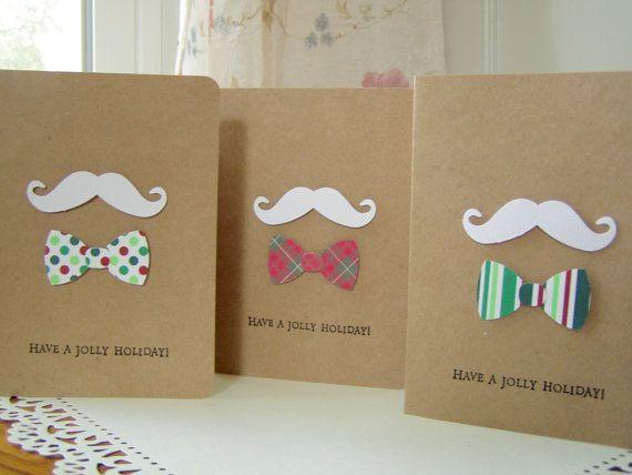 mustache card set christmas mustache cards by JDooreCreations, $5.25
