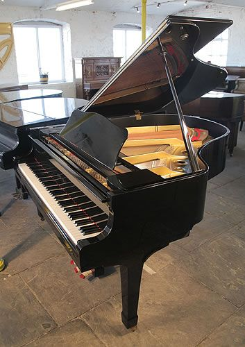 A 1981, Yamaha G2 grand piano for sale with a black case and polyester finish. Piano has eighty-eight notes and three pedals at Besbrode Pianos