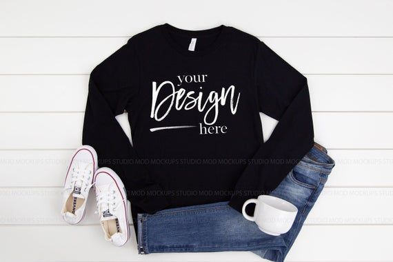 Download Bella Canvas Mockup Black Long Sleeve Shirt Mockup T Shirt Etsy Clothing Mockup Shirt Mockup Black Long Sleeve Shirt