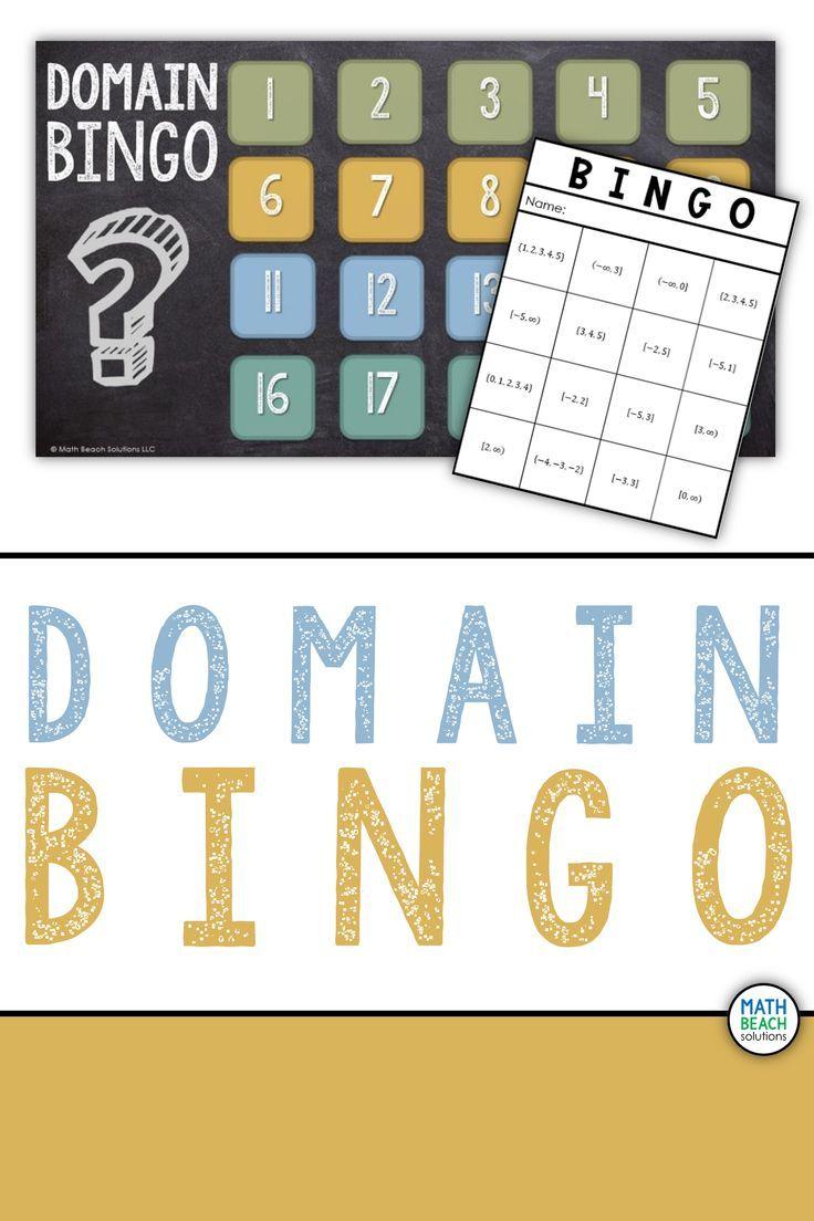 Domain bingo activity graphing functions algebra resources