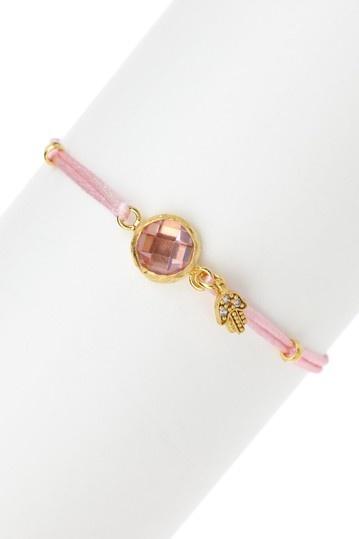 iLuck  Ronit Crystal Bezel & Satin Cord Bracelet  $27.50