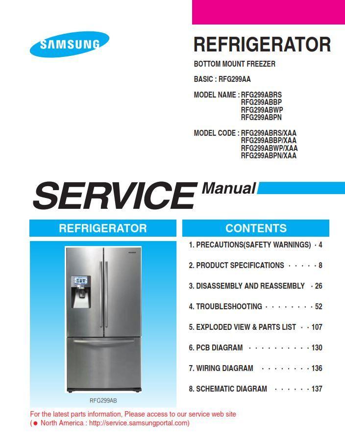 Samsung Rfg299abrs Rfg299abbp Rfg299abwp Rfg299abpn Refrigerator Service Manual Repair Manuals Disassembly Circuit Board