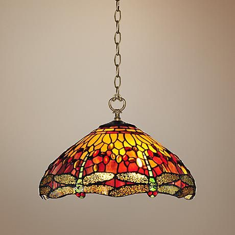 "Reves Dragonfly 16"" Wide Dale Tiffany Pendant Light"