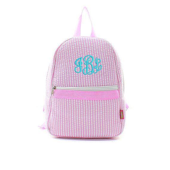 Toddler's Mini Seersucker Backpack Pink by Monograms4Ever on Etsy