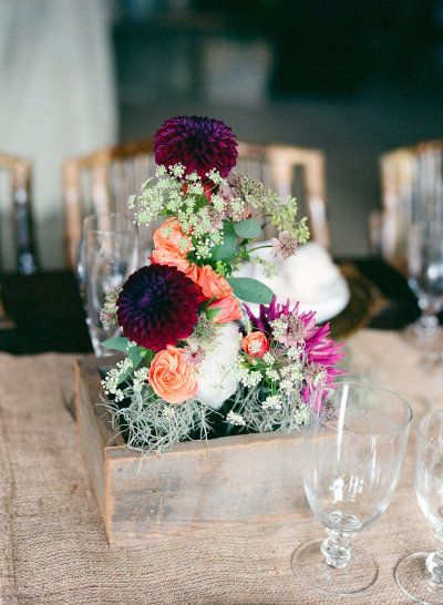 #rustic #centerpiece  Photography by juliereneephotography.com  Floral + Event Design + Planning by hollychappleflowers.com    Read more - http://www.stylemepretty.com/2013/06/13/virginia-wedding-from-julie-massie-holly-chapple-flowers/
