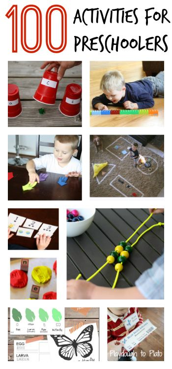 100 Awesome Activities for Preschoolers. Perfect since I homeschool! And some of them aren't really crafts, which is also good.