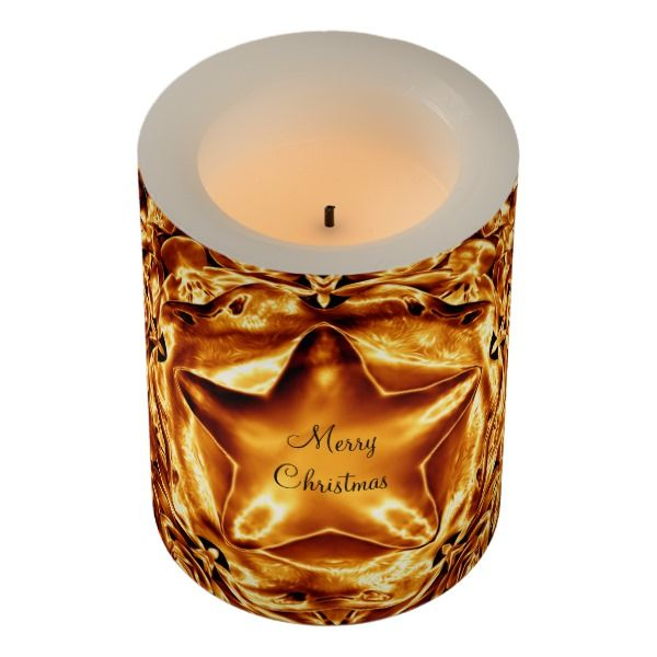 Elegant Gold Copper Christmas Star LED Candle