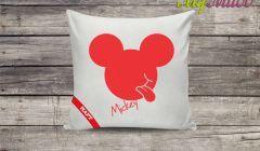 Poduszka dekoracyjna z haftem Mickey czerwony