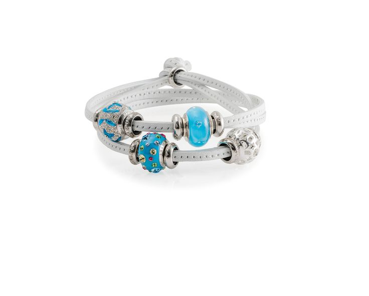 Amore & Baci white leather bracelet with turquoise silver and murano beads