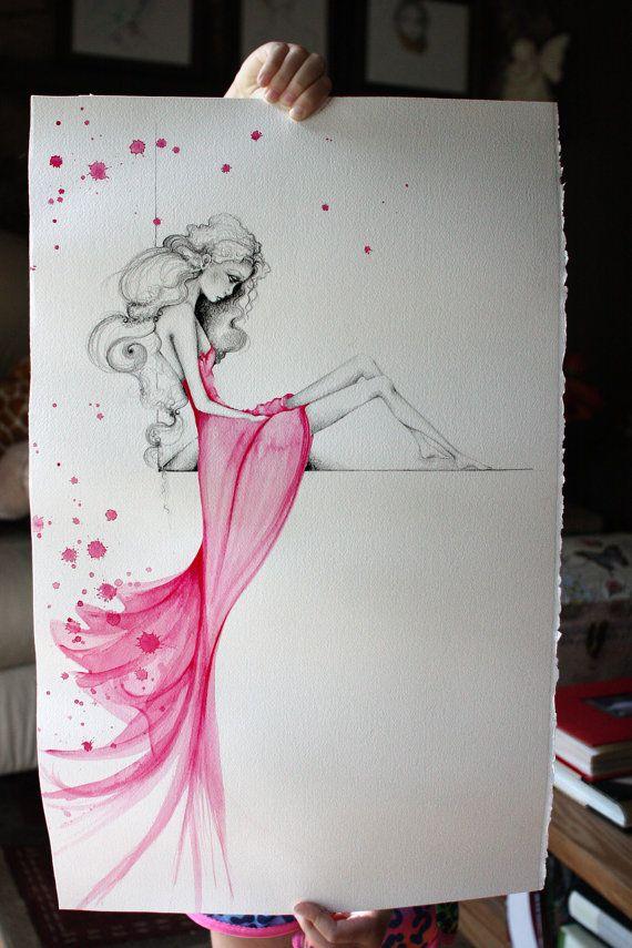 Original OOAK Watercolor & Pencil Drawing Pink by ABitofWhimsyArt, $300.00