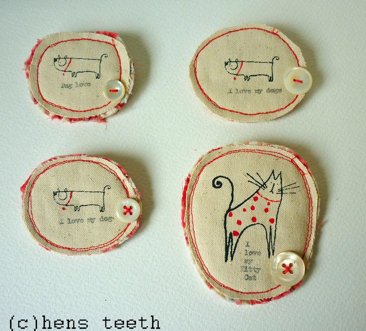 pug and kitty brooches