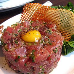 Lunch is for wimps, and when I wimp it, I enjoy fatty tuna with a quail egg