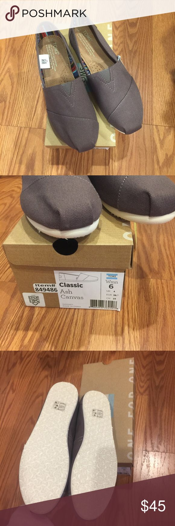 Ash gray toms. Brand new. Size 6 Authentic and never used. Size 6. Firm price Toms Shoes Sneakers