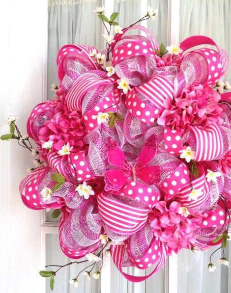 Deco Mesh Wreath Summer Door Wreath Hot Pink Stripe