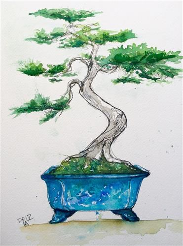 "Daily Paintworks - ""Bonsai"" - Original Fine Art for Sale - © Isabel  Frias de la Uz"