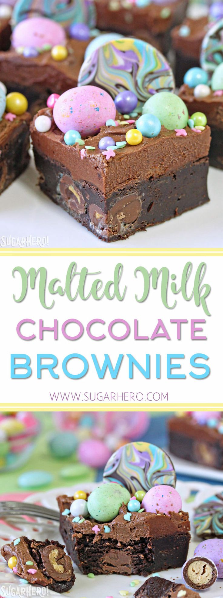 These Malted Milk Chocolate Brownies are ultra-fudgy brownies, topped with chocolate frosting and LOTS of fun sprinkles and candies! Perfect for Easter, showers, and parties. | From SugarHero.com