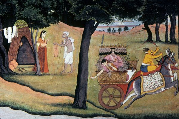 Indian painting shows Ravana appearing as hermit and then abducting Sita