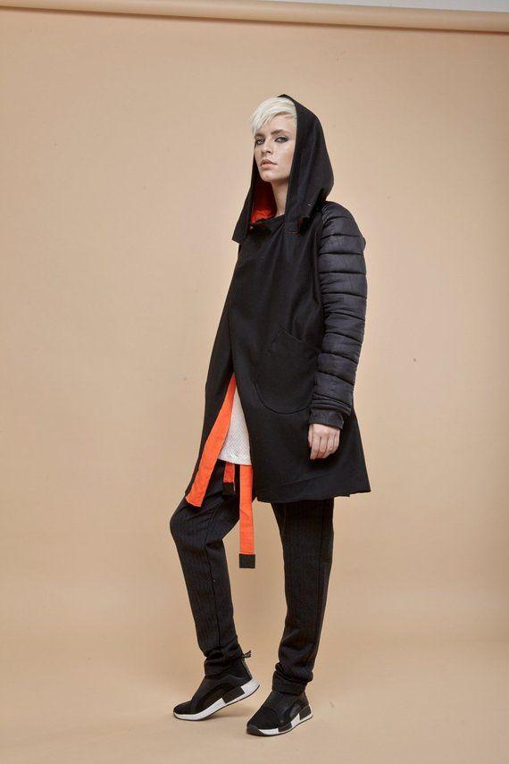 Black Jacket, Hooded Jacket, Pixie Clothing, Plus Size Jacket, Oversized Jacket, Plus Size Clothing, Jacket For Women, Hoodie Jacket
