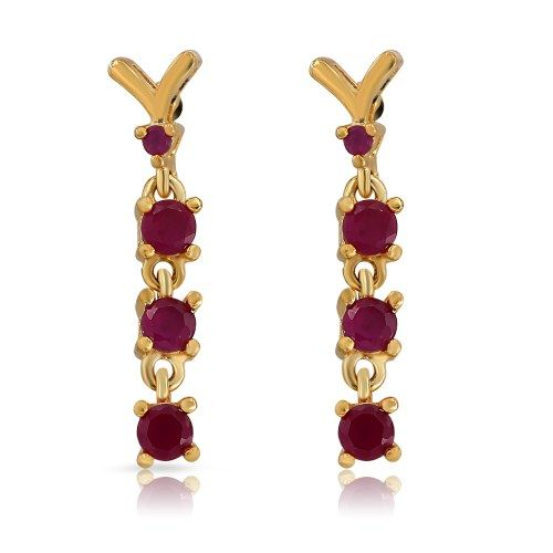 Mahi Endearing Earrings With Gold Plating And Ruby - Online Shopping for Earrings by Mahi Fashion Jewelry